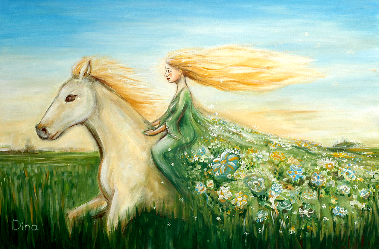Woman on a horse original big painting art by dina argov for How to paint a portrait in watercolor